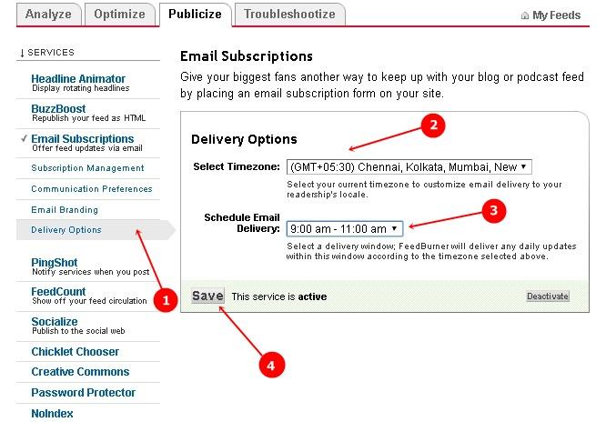 Set Email Delivery Time in Feedburner