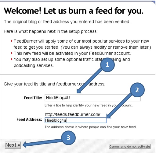 Welcome page. Set Blog title and feed address