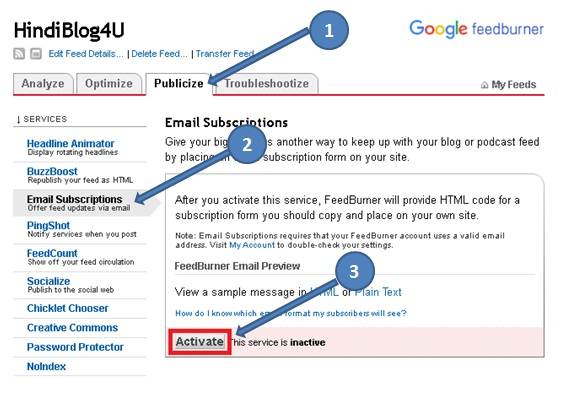 feedburner email subscription service active
