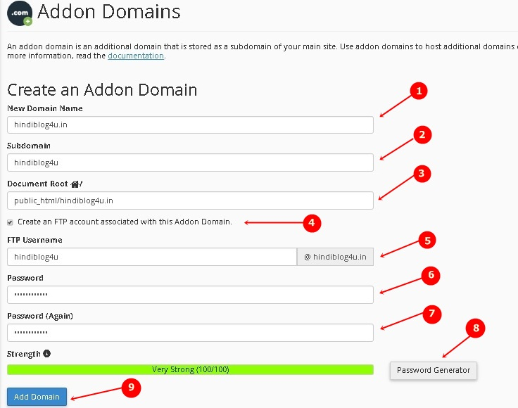Addon Domain in cPanel