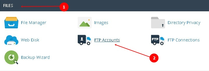 Go to Files FTP Accounts