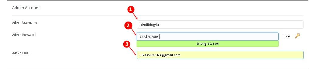 WordPress Admin Account Setings