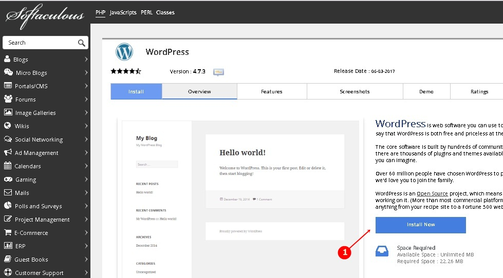 wordpress software install page